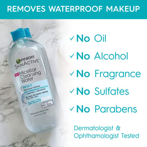 Garnier SkinActive Micellar Cleansing Water, For Waterproof Makeup, 13.5 Fl Oz - Coco Mink Lashes