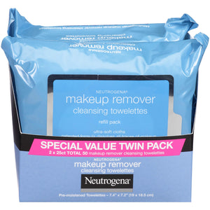 Neutrogena Makeup Remover Cleansing Towelettes, 25 count, 2 Pack
