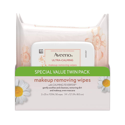 Aveeno Ultra Cleansing Towelettes Oil-Free Sensitive Skin, 25 Count, Twin Pack