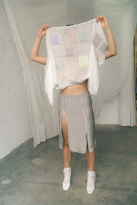 Silk skirt with zippers