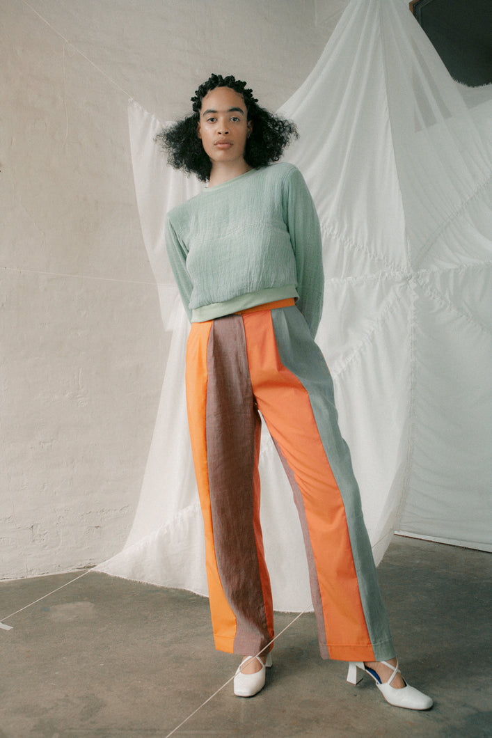 Wide-striped trousers