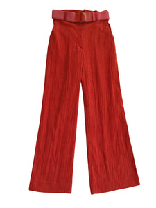 CREASED CORDUROY trousers CORAL RED