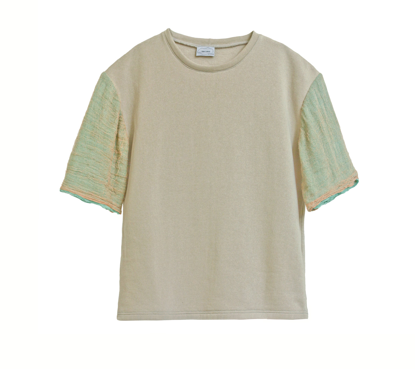 GAUZE Cotton Tee BEIGE-GREEN