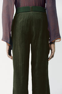 CREASED CORDUROY trousers OLIVE GREEN