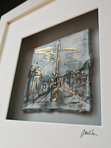 The Spire and GPO - Dublin - Framed porcelain illustration