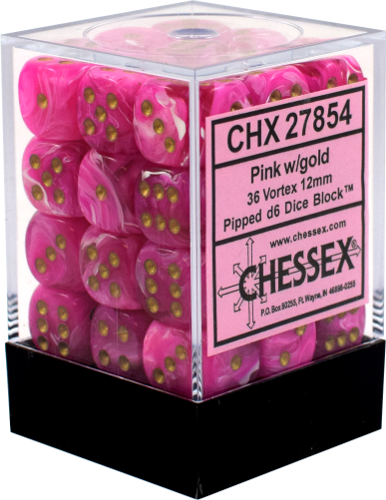Pink / Gold: Vortex 36d6 12mm Dice Set CHX 27854