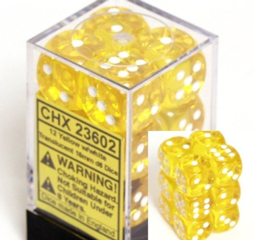 Yellow with White: Translucent 12d6 16mm Dice Set CHX 23602