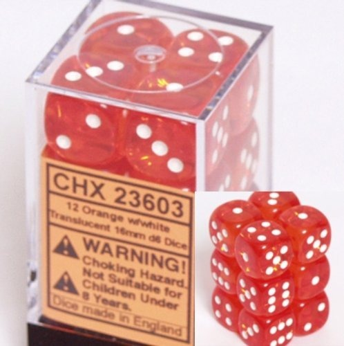 Orange with White: Translucent 12d6 16mm Dice Set CHX 23603
