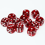 Red with White: Translucent 12d6 16mm Dice Set CHX 23604