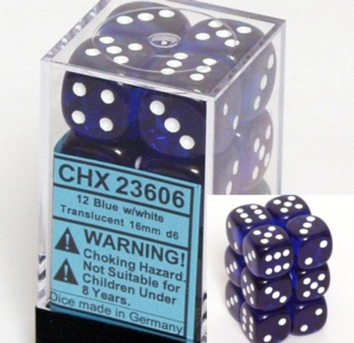 Blue with White: Translucent 12d6 16mm Dice Set CHX 23606