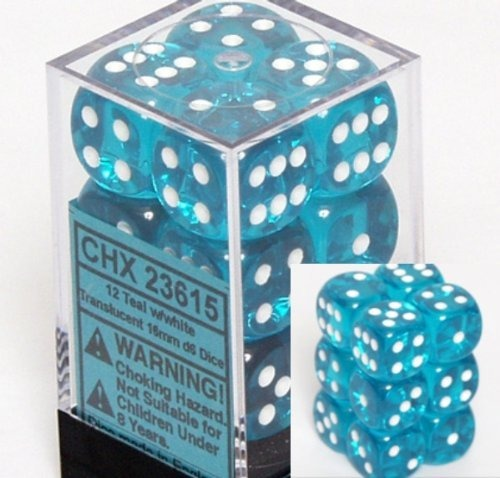 Teal with White: Translucent 12d6 16mm Dice Set CHX 23615