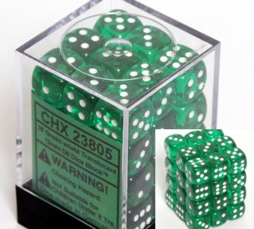 Green with White:  Translucent 36d6 12mm Dice Set CHX 23805