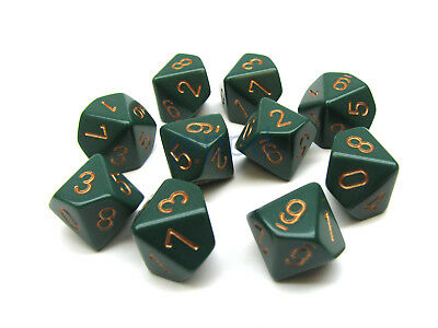 Dusty Green with Copper: Opaque d10 Dice Set (10's) CHX 25215