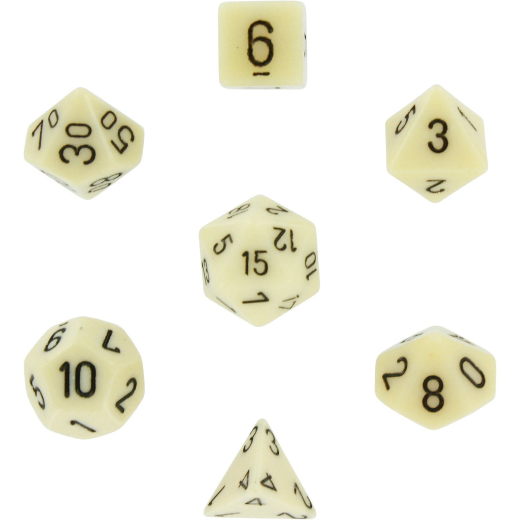 Ivory with Black: Opaque Polyhedral Dice Set (7's) CHX 25400