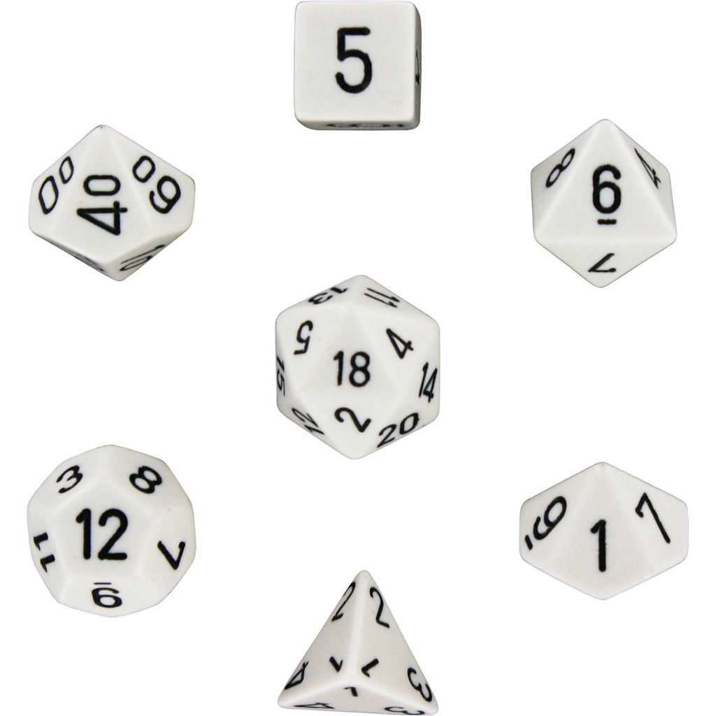 White with Black: Opaque Polyhedral Dice Set (7's) CHX 25401