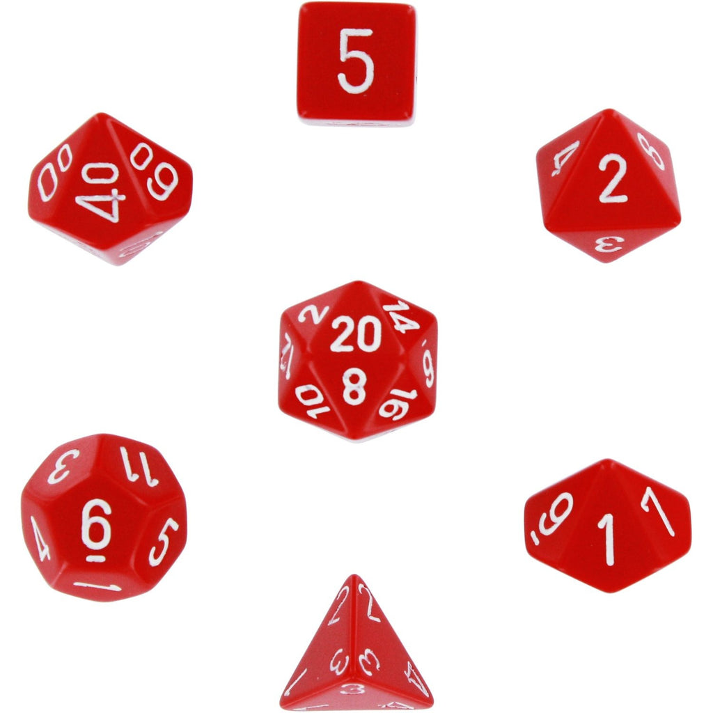Red with White: Opaque Polyhedral Dice Set (7's) CHX 25404