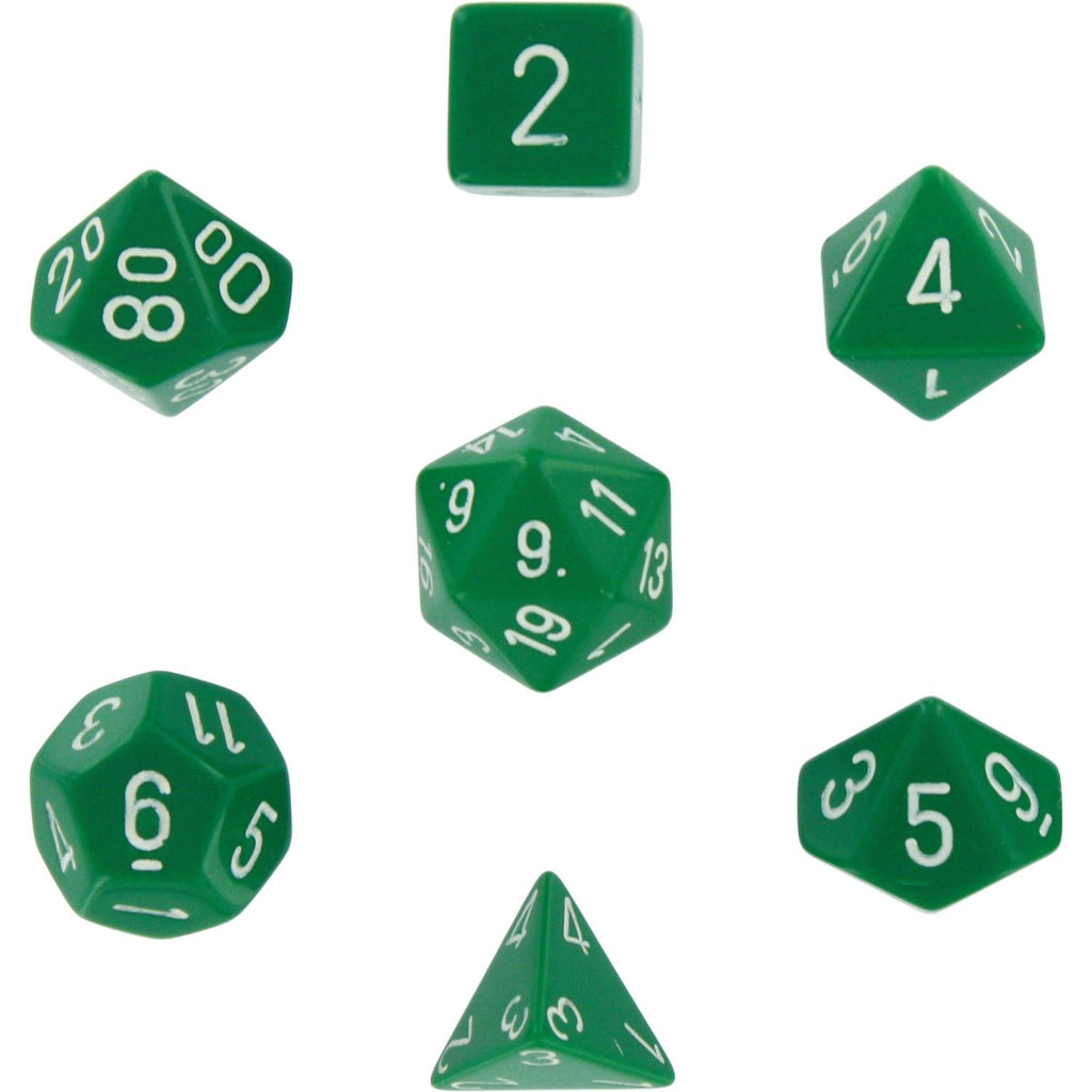 Green with White: Opaque Polyhedral Dice Set (7's) CHX 25405