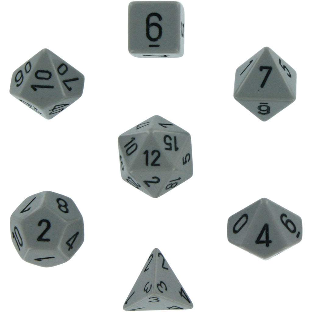 Grey with Black: Opaque Polyhedral Dice Set (7's) CHX 25410