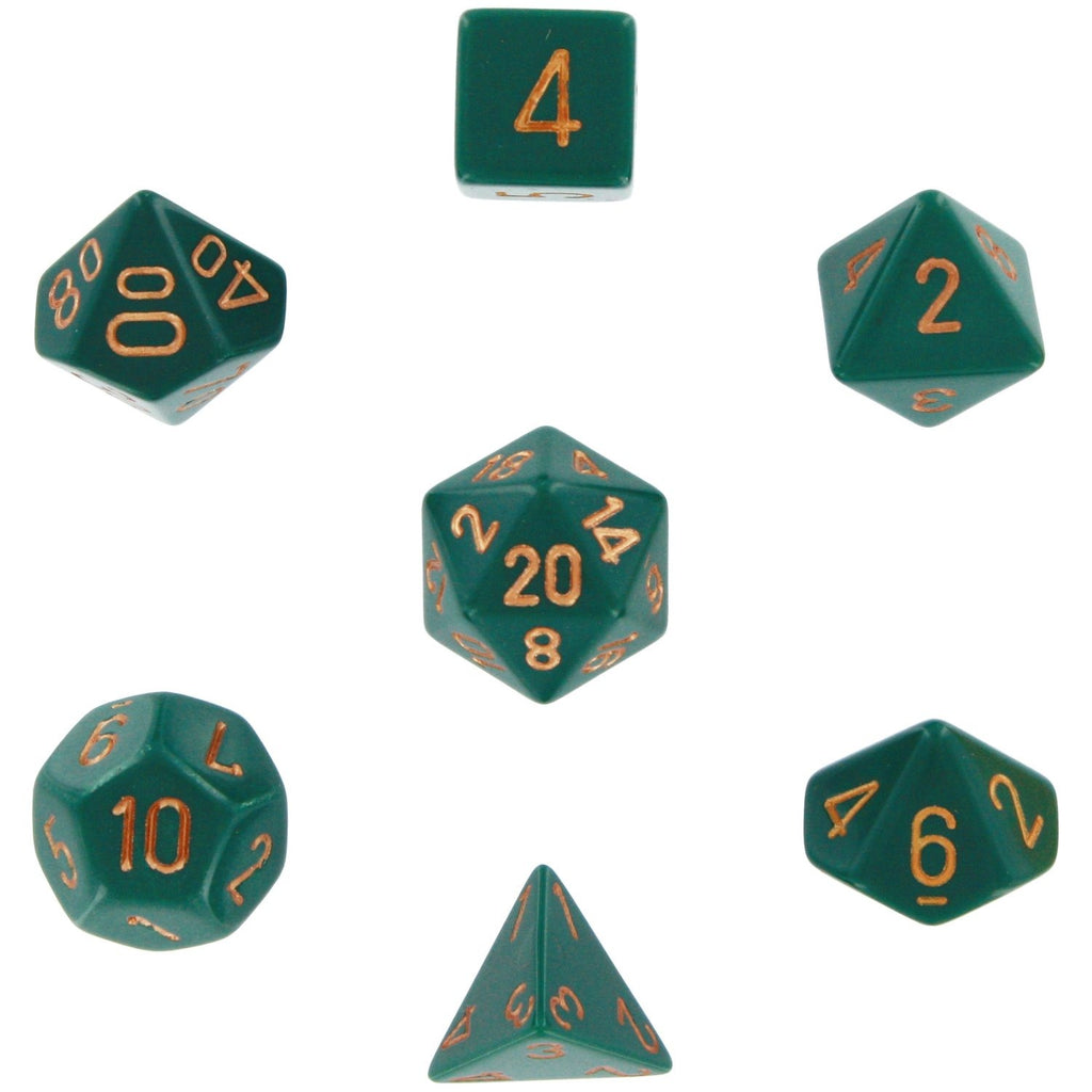 Dusty Green with Copper: Opaque Polyhedral Dice Set (7's) CHX 25415