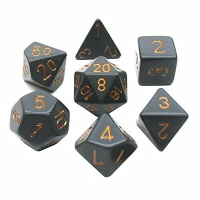 Dark Gray with Copper: Opaque Polyhedral Dice Set (7's) CHX 25420