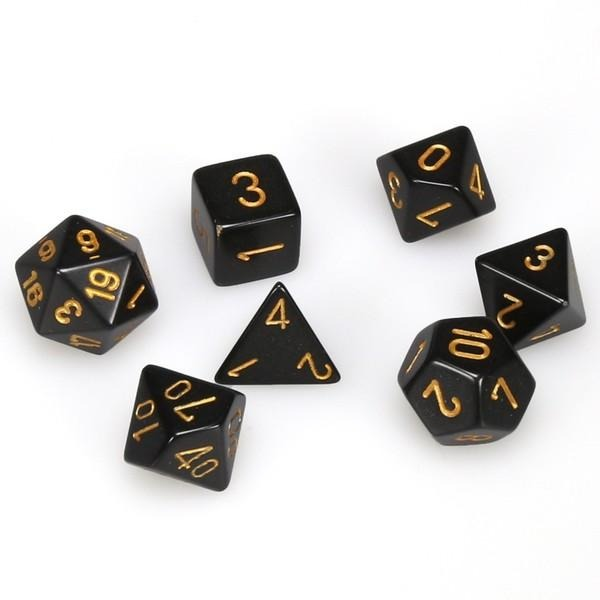Black with Gold: Opaque Polyhedral Dice Set (7's) CHX 25428