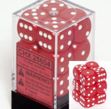 Red with White: Opaque 12d6 16mm Dice Set CHX 25604