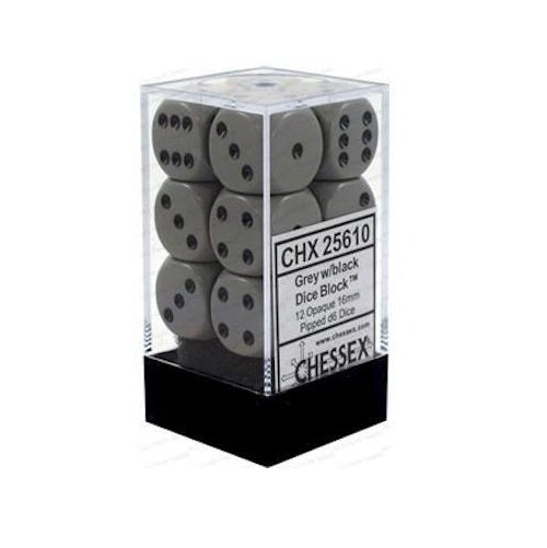 Gray with Black: Opaque 12d6 16mm Dice Set CHX 25610