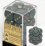 Dusty Green with Copper: Opaque 12d6 16mm Dice Set CHX 25615