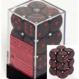 Black with Red: Opaque 12d6 16mm Dice Set CHX 25618