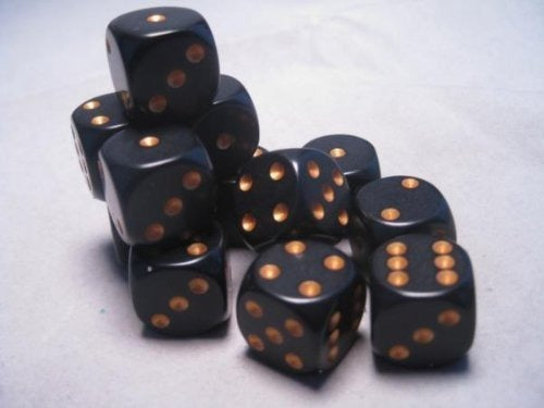 Black with Gold: Opaque 12d6 16mm Dice Set CHX 25628