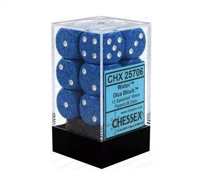 Water: Speckled 12d6 16mm Dice Set CHX 25706