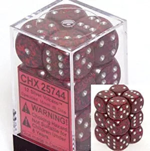 Silver Volcano: Speckled 12d6 16mm Dice Set CHX 25744