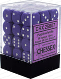Purple with White: Opaque 36d6 12mm Dice Set CHX 25807