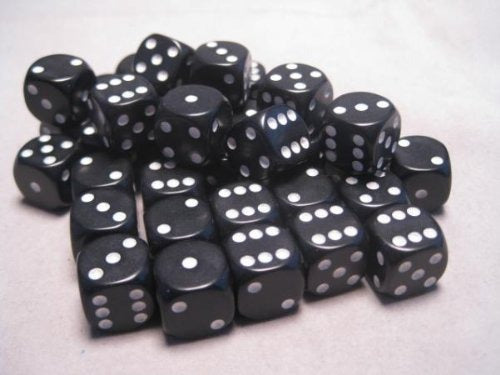 Black with White: Opaque 36d6 12mm Dice Set CHX 25808