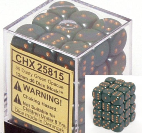 Dusty Green with Gold: Opaque 36d6 12mm Dice Set CHX 25815
