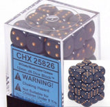 Dusty Blue with Gold: Opaque 36d6 12mm Dice Set CHX 25826