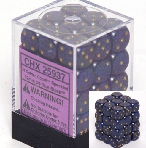 Golden Cobalt: Speckled 36d6 12mm Dice Set CHX 25937