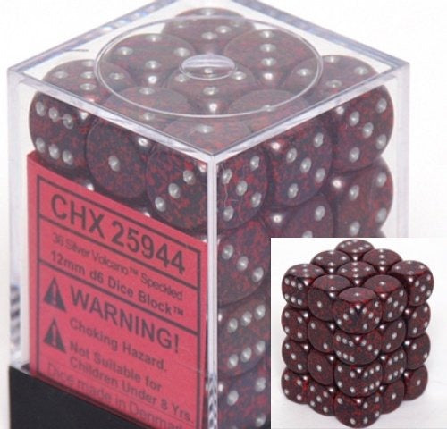 Silver Volcano: Speckled 36d6 12mm Dice Set CHX 25944