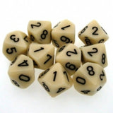 Ivory with Black: Opaque d10 Dice Set (10's) CHX 26200