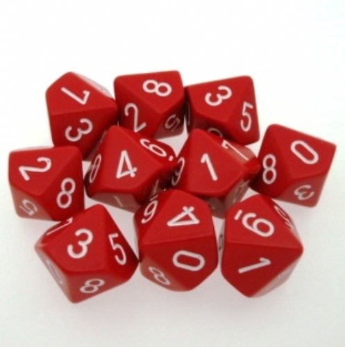 Red with White: Opaque d10 Dice Set (10's) CHX 26204