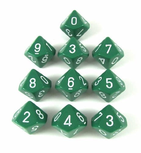 Green with White: Opaque d10 Dice Set (10's) CHX 26205