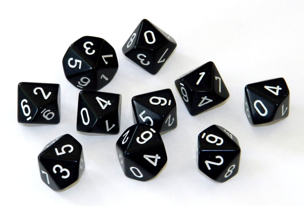 Black with White: Opaque d10 Dice Set (10's) CHX 26208