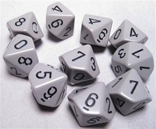 Dark Grey with Black: Opaque d10 Dice Set (10's) CHX 26210