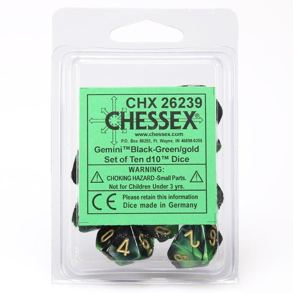 Black-Green with Gold: Gemini d10 Dice Set (10's) CHX 26239