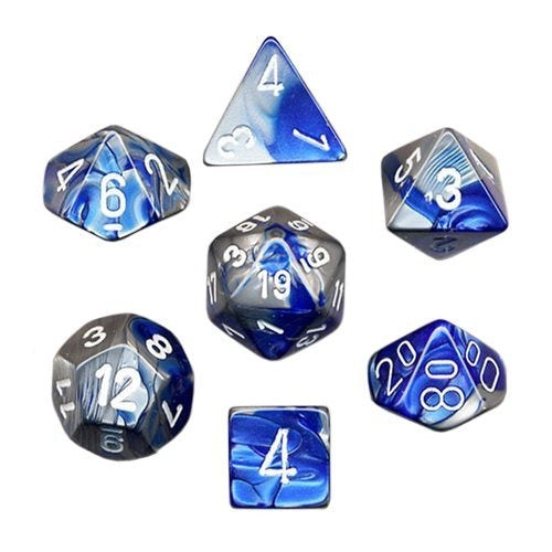 Blue-Steel with White: Gemini Polyhedral Dice Set (7's) CHX 26423