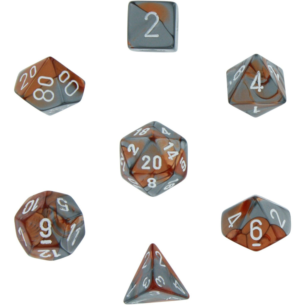 Copper-Steel with White: Gemini Polyhedral Dice Set (7's) CHX 26424