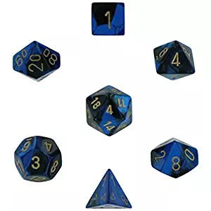 Black-Blue with Gold:  Gemini Polyhedral Dice Set (7's) CHX 26435