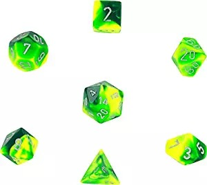Green-Yellow with Silver: Gemini Polyhedral Dice Set (7's) CHX 26454