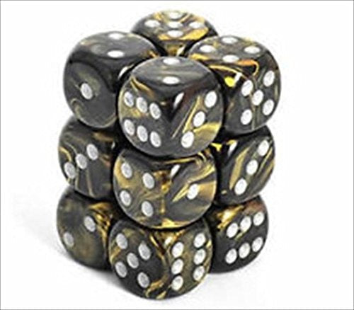 Black-Gold with Silver: Gemini 12d6 16mm Dice Set CHX 26651