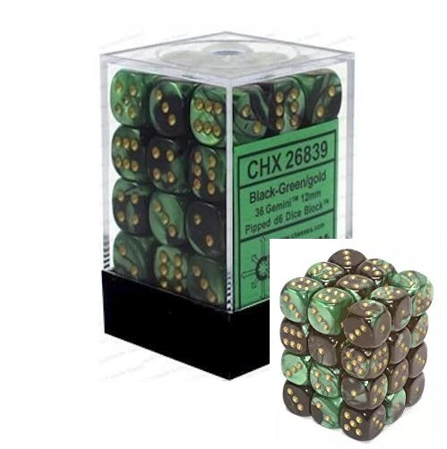 Black-Green with Gold: Gemini 36d6 12mm Dice Set CHX 26839